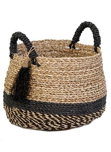Kanca Ev Seagrass Hasır, Göbekli, Natürel Siyah Sepet, Siyah Püsküllü, Küçük Siyah